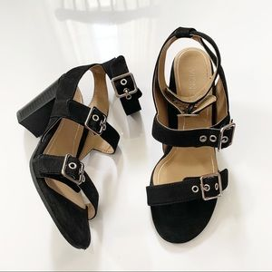 Vionic Carmel Suede Buckle Block Heel Sandal